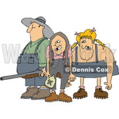 Cartoon Of A Redneck Hillbilly Man With A Shotgun And Women - Royalty Free Vector Clipart © djart #1128706