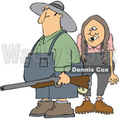Cartoon Of A Redneck Hillbilly Man And Woman With A Shotgun - Royalty Free Vector Clipart © Dennis Cox #1128707