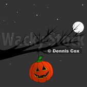 Cartoon Of A Halloween Jackolantern Pumpkin Hanging From A Bare Tree Branch At Night - Royalty Free Clipart © djart #1129162