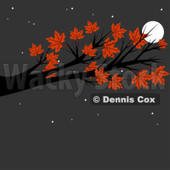 Cartoon Of An Autumn Maple Tree Branch Against A Full Moon And Night Sky - Royalty Free Clipart © djart #1129163