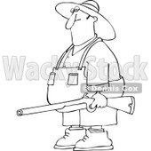 Cartoon Of An Outlined Redneck Hillbilly Man Carrying A Rifle - Royalty Free Vector Clipart © djart #1129165