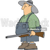 Cartoon Of A Redneck Hillbilly Man Carrying A Rifle - Royalty Free Vector Clipart © djart #1129166