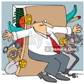 Cartoon Of A Man Pushing Back Against A Bulging Closet Door - Royalty Free Vector Clipart © djart #1129167