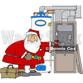 Cartoon Of Santa Working On A Hvac Furnace - Royalty Free Vector Clipart © djart #1130526