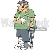 Cartoon Of A Injured Boy With A Crutch And Sling - Royalty Free Vector Clipart © djart #1131113