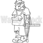 Cartoon Of An Outlined Injured Boy With A Crutch And Sling - Royalty Free Vector Clipart © djart #1131114