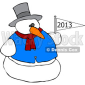Cartoon Of A Snowman Holding A New Year 2013 Flag - Royalty Free Vector Clipart © djart #1134442