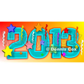 Cartoon Of A New Year 2013 With Stars And Streamers - Royalty Free Vector Clipart © djart #1134445