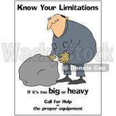 Cartoon Of A Worker Trying To Lift A Heavy Rock With Safety Text| Royalty Free Clipart © djart #1134446
