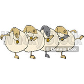 Cartoon Of A Chorus Of Sheep Dancing The Can Can - Royalty Free Vector Clipart © djart #1137148