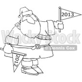 Cartoon Of An Outlined Santa Holding Up A New Year 2013 Flag And Down 2012 - Royalty Free Vector Clipart © Dennis Cox #1139790