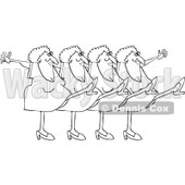 Cartoon Of An Outlined Chorus Line Of Old Ladies Dancing The Can Can - Royalty Free Vector Clipart © djart #1139793