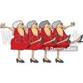 Cartoon Of A Chorus Line Of Old Ladies Dancing The Can Can - Royalty Free Vector Clipart © Dennis Cox #1139794
