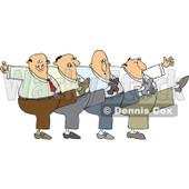 Cartoon Of A Chorus Line Of Men Dancing The Can Can - Royalty Free Vector Clipart © djart #1139796