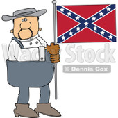 Cartoon Of A Southern Man Holding A Confederate Flag - Royalty Free Vector Clipart © Dennis Cox #1144041