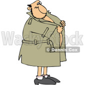 Cartoon Of A Flasher Man Holding Onto His Coat - Royalty Free Vector Clipart © djart #1144043