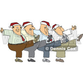 Cartoon Of A Chorus Line Of Men Wearing Santa Hats And Dancing The Can Can - Royalty Free Vector Clipart © Dennis Cox #1144044