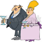 Cartoon of a Dressed up Man and Woman Holding Martinis - Royalty Free Vector Clipart © djart #1144608