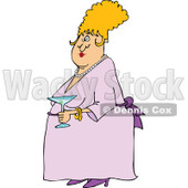 Cartoon of a Dressed up woman Holding a Martini - Royalty Free Vector Clipart © djart #1144609