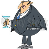 Cartoon of a Dressed up Man Holding a Martini - Royalty Free Vector Clipart © djart #1144610