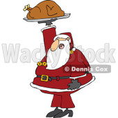 Cartoon of Santa Holding up a Roasted Turkey - Royalty Free Vector Clipart © djart #1146361