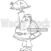 Cartoon of an Outlined Santa Holding up a Roasted Turkey - Royalty Free Vector Clipart © djart #1146362