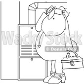 Cartoon of an Outlined Santa in His Pajamas Trying to Fix a Furnace - Royalty Free Vector Clipart © djart #1146369