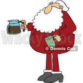Cartoon of Santa in His Pajamas Holding a Coffee Cup and Pot - Royalty Free Vector Clipart © Dennis Cox #1146371