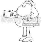 Cartoon of an Outlined Santa in His Pajamas Holding a Coffee Cup and Pot - Royalty Free Vector Clipart © Dennis Cox #1146372