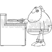 Cartoon of an Outlined Santa in His Pajamas Frying Eggs for Breakfast - Royalty Free Vector Clipart © djart #1146374