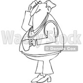 Cartoon of an Outlined Man Holding Coffee Scratching His Head and Looking up - Royalty Free Vector Clipart © djart #1146376