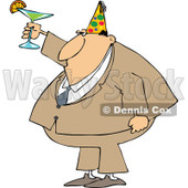 Cartoon of a Businessman Wearing a Party Hat and Toasting - Royalty Free Vector Clipart © djart #1146377