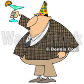 Cartoon of a Businessman in a Plaid Jacket Wearing a Party Hat and Toasting - Royalty Free Clipart © djart #1146378