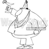 Cartoon of an Outlined Businessman Wearing a Party Hat and Toasting - Royalty Free Vector Clipart © djart #1146379