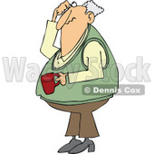 Cartoon of a Man Holding Coffee Scratching His Head and Looking up - Royalty Free Vector Clipart © djart #1146380