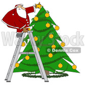 Cartoon of Santa Standing on a Ladder and Putting a Star on a Christmas Tree - Royalty Free Vector Clipart © djart #1151104