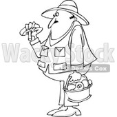 Cartoon of an Outlined Man Gathering Mushrooms - Royalty Free Vector Clipart © djart #1151313