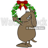 Cartoon of a Happy Dog Hanging a Christmas Bone Wreath - Royalty Free Illustration © djart #1151803
