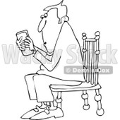 Cartoon of an Outlined Man Sitting in a Chair and Texting on a Phone - Royalty Free Vector Clipart © djart #1154594