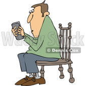 Cartoon of a Outlined Man Sitting in a Chair and Texting on a Phone - Royalty Free Vector Clipart © djart #1154596
