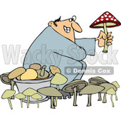 Cartoon of a Man Picking Mushrooms One Being Poisonous - Royalty Free Vector Illustration © djart #1158957