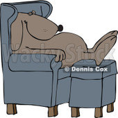 Cartoon of a Dog Sleeping in a Chair with His Feet on an Ottoman - Royalty Free Vector Illustration © djart #1158958