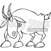 Cartoon of an Outlined Angry Goat - Royalty Free Vector Clipart © djart #1160524