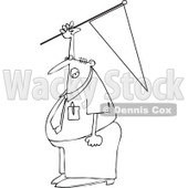 Cartoon of an Outlined Businessman Holding up a Pennant Flag - Royalty Free Vector Clipart © djart #1160527