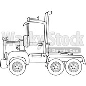 Cartoon of an Outlined Big Rig Semi Truck Cab - Royalty Free Vector Clipart © djart #1160529
