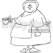 Cartoon of an Outlined Chubby Lady Wearing an Apron and Holding a Tea Cup - Royalty Free Vector Clipart © djart #1160531