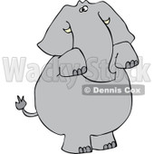 Cartoon of an Elephant Standing and Begging - Royalty Free Vector Clipart © djart #1160533