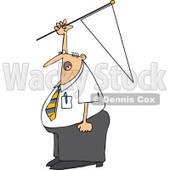Cartoon of a Caucasian Businessman Holding up a Pennant Flag - Royalty Free Vector Clipart © djart #1160537