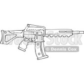 Cartoon of an Outlined Semi Automatic Assault Rifle with a Clip - Royalty Free Vector Clipart © djart #1160710