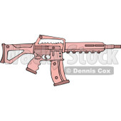Cartoon of a Pink Semi Automatic Assault Rifle with a Clip - Royalty Free Vector Clipart © Dennis Cox #1160711